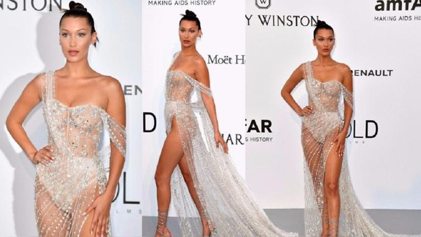 Bella Hadid mostró todo en Cannes con vestido transparente