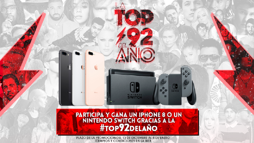 ¡Gana un iPhone 8 y un Nintendo Switch votando en La Top92 del Año!