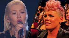 AMAs 2017: Pink cierra rumores sobre su mueca durante presentación de Christina Aguilera